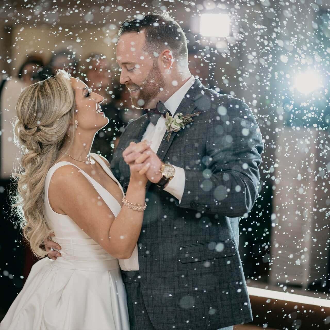 Snow at a wedding